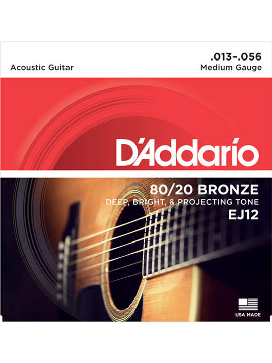 daddario ej12 80/20 bronze acoustic guitar strings medium 13-56