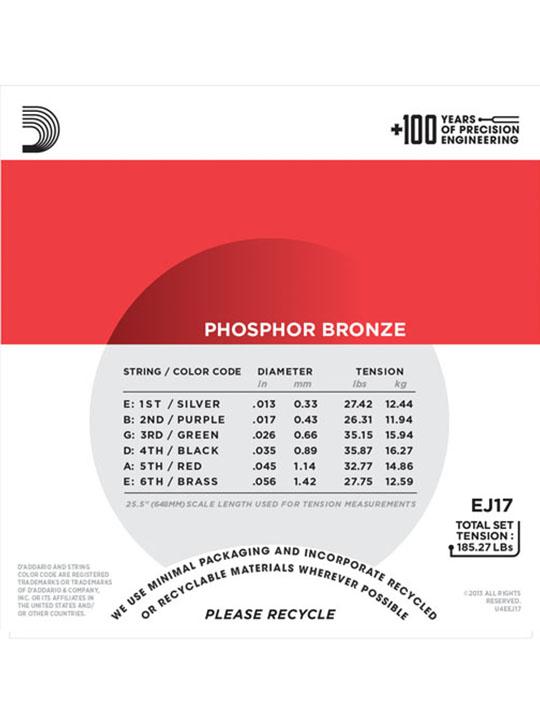 daddario ej17 phosphor bronze medium 13-56