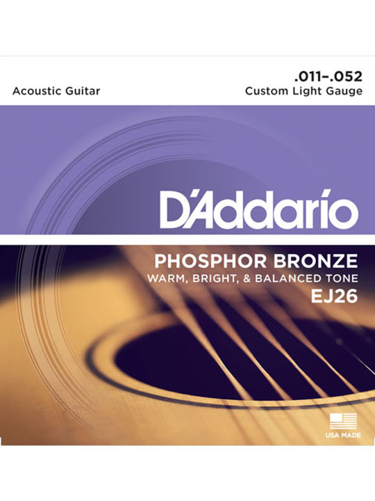 daddario ej26 phosphor bronze custom light 11-52